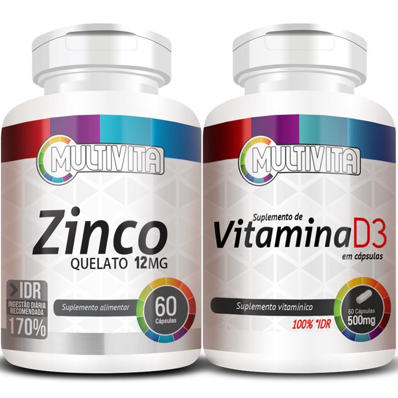 Kit Imunidade - Zinco - 60 cáps. 12mg + Vitamina D3 - 60 cáps. 500mg