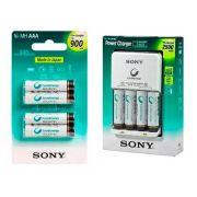 Carregador Sony com 8 Pilhas Kit 4 AA + 4 AAA Recarregável
