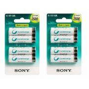 Kit Pilhas Sony 8 AA Pequena 2500 Mah Recarregável
