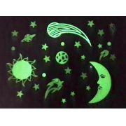 Adesivo de Parede Fosforecente 3D Kit Galáxia Neon - Lua, Sol, Estrelas Planetas