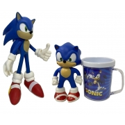 Kit Boneco Sonic Classic Azul Articulado Grande + Pequeno + Caneca Brinde
