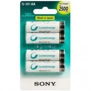Cartela Pilha Sony 4 AA Pequena 2500 Mah Recarregável