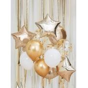 Kit de Balões Temático Dourado 12 peças Estrelas Enchimento de Confete