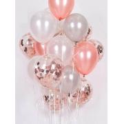 Kit de Balões Temático Mix Prata Rose Branco Decoração 16 peças