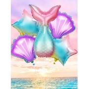 Kit de Balões Temático Sereia Concha Estrela Decoração Praiana 5 peças