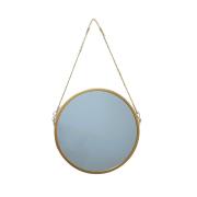 Espelho de Parede Alça de Corrente Metal Dourado 20cm