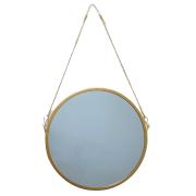 Espelho de Parede Alça de Corrente Metal Dourado 29cm