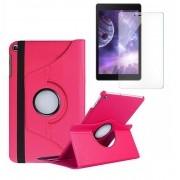 Kit Capa Tablet Samsung Galaxy Tab A 8 T290 T295 T297 Giratória Rosa + Película de Vidro
