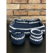 Kit Higiene de Bebê de Crochê de Malha Multiuso Azul Marinho