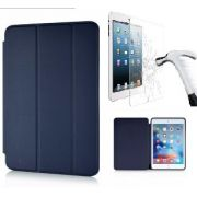 Kit Smart Case Ipad 9.7 2018 Ipad 6 Apple A1893 Sensor Sleep Azul Marinho + Película de Vidro