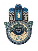 Mandala Decorativa Mão Hamsá Azul Amuleto Sorte e Fortuna