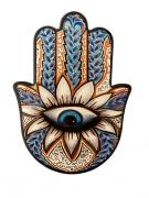 Mandala Decorativa Mão de Hamsá - Olho Grego na Flor de Lótus