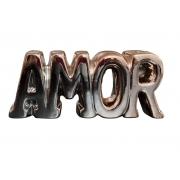 Palavra Decorativa Amor Rose Gold Porcelana Decoração de Casa