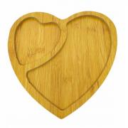 Petisqueira de Madeira Bandeja Coração 2 divisórias 26cm