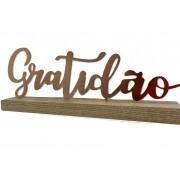 Placa de Madeira Palavra Gratidão Metal Acobreado