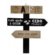 Placa Decorativa de Madeira Café Ajuda a Quem Cedo Madruga