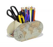 Suporte Porta Lápis - Acessórios - Mapa Mundi Vintage Decoração Escritório