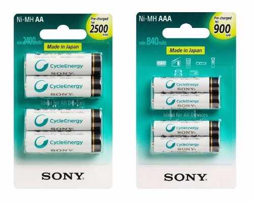 Kit de Pilhas Sony 4 AAA Palito + 4 AA Pequena Recarregável