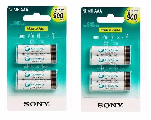 Kit Pilhas Sony 8 AAA Palito 900 Mah Recarregável