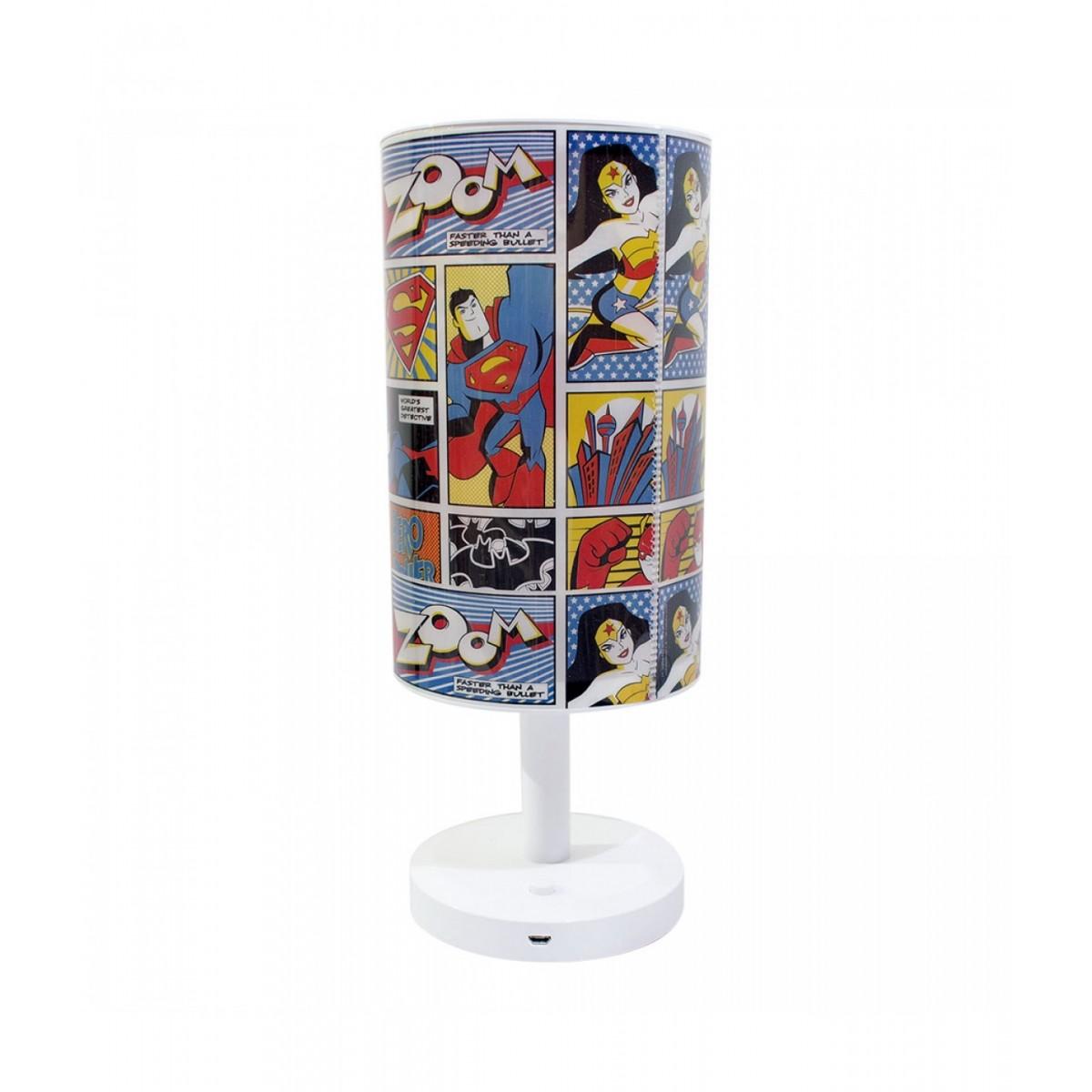 Abajur Luminária de Mesa Quadrinhos Heróis Liga da Justiça | Justice League