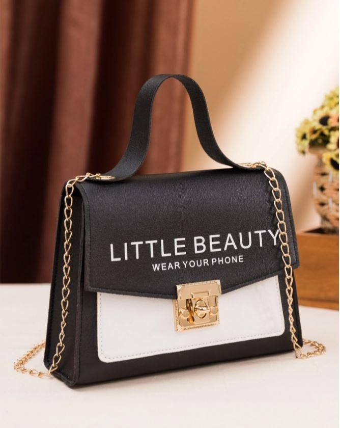 Bolsa Pequena Preta Fashionista Alça de Corrente Little Beauty