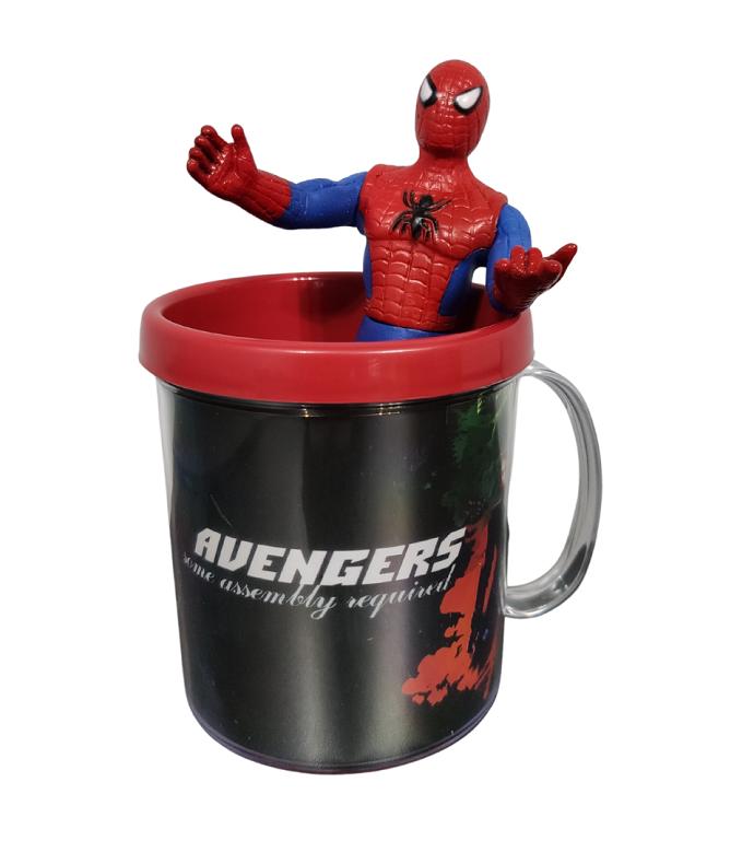 Boneco Homem Aranha + Caneca Avengers Miniatura Spyderman