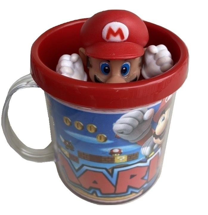 Boneco Super Mário + Caneca Personalizada Miniatura Jogo Colecionável
