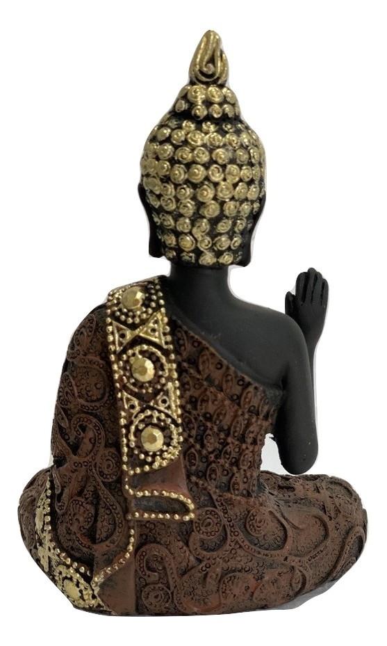 Buda da Coragem Abhaya Mudra Terracota Gold com Pedraria