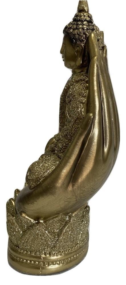 Buda da Iluminação Bhumisparsha Mudra Mãos de Deus Dourado
