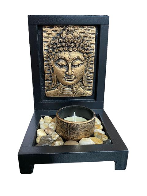 Buda Zen Garden Ornamento Decorativo Altar com Pedras e Vela