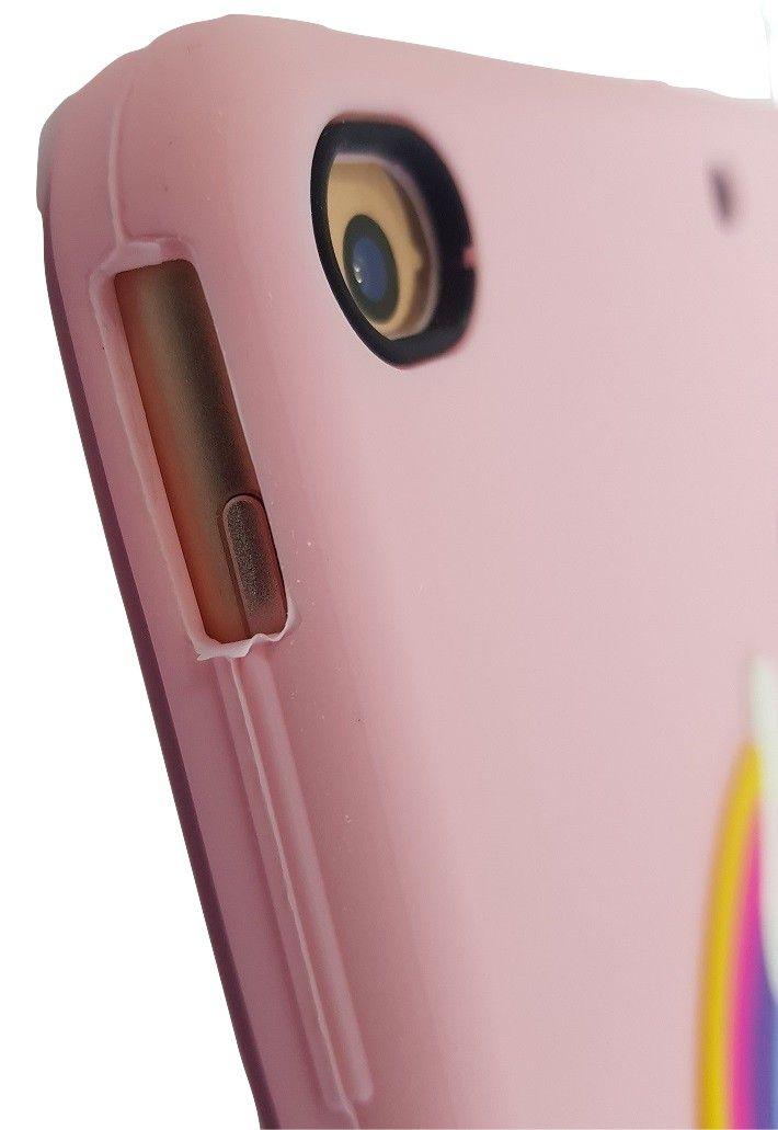 Capa Ipad 9.7 Apple 6º geração 2018 A1893 - Traseira Silicone Unicórnio 3D Rosa Claro