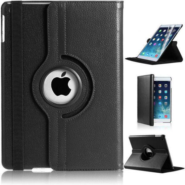 Capa Ipad 9.7 Apple A1822 A1823 2017 Couro Sintético Giratória Preta