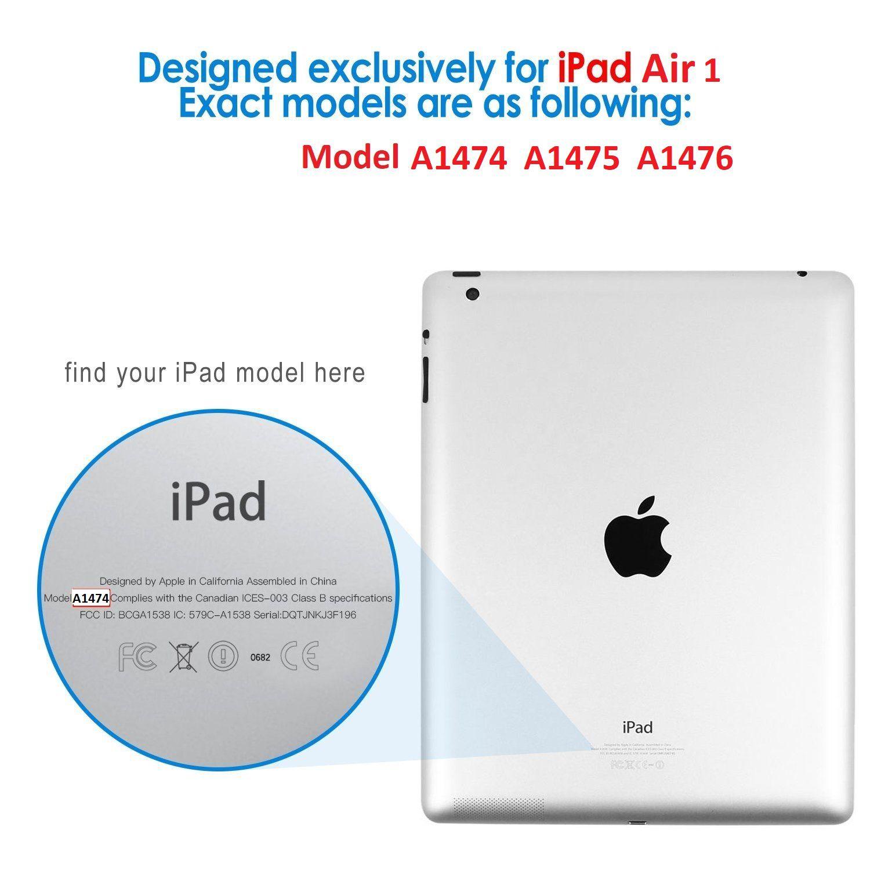 Capa Ipad Air 1 Apple A1474 A1475 A1476 Giratória com Apoio Preta