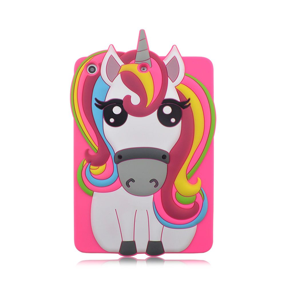 Capa Ipad Mini 1 2 3 Apple Traseira de Silicone Unicórnio 3D Rosa (Unicorn rainbow)