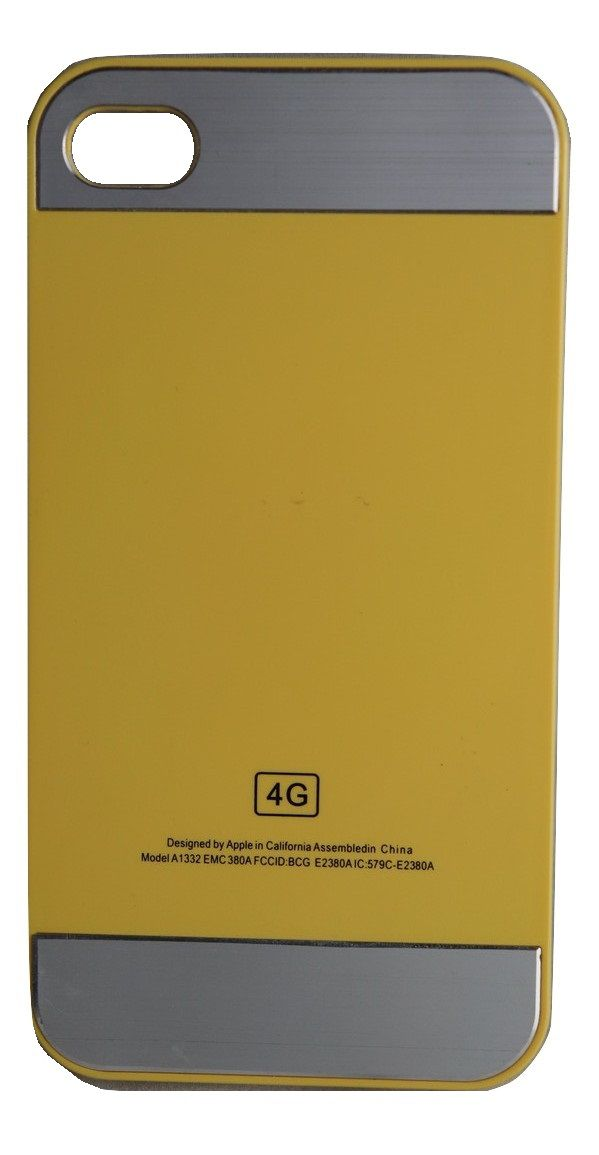 Capa Iphone 4  Apple Rígida Amarela com Prata