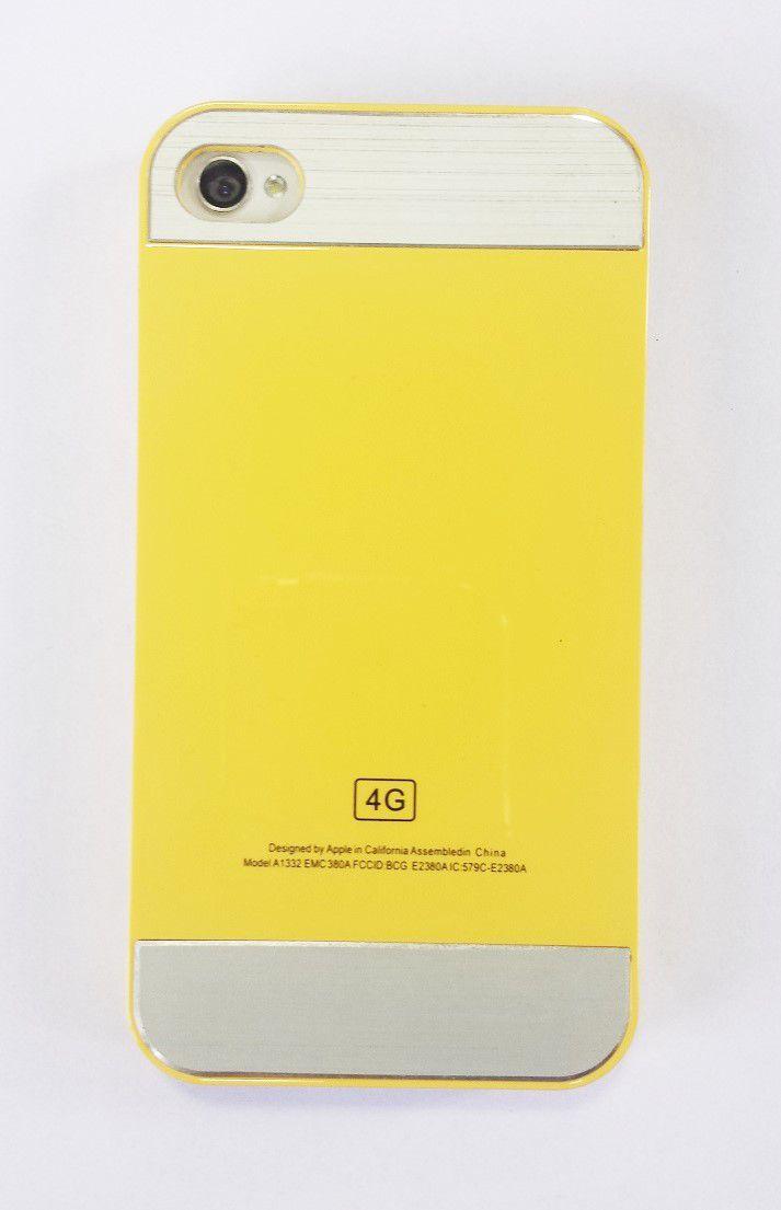 Capa Iphone 4 Apple Rígida Amarela com Prata 4g 4s
