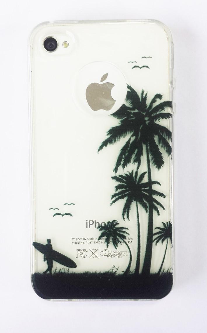 Capa Iphone 4 Flexível Transparente Surf Surfista