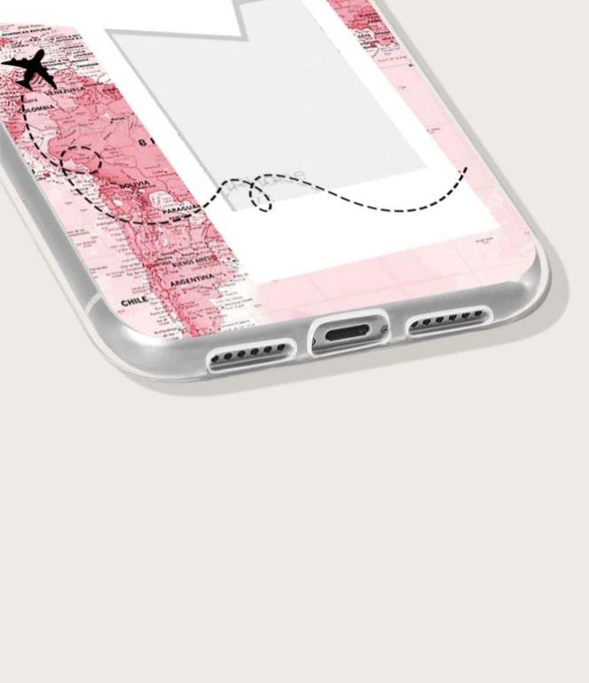 Capa para Iphone 12 Pro Mapa Mundi com Moldura de Foto