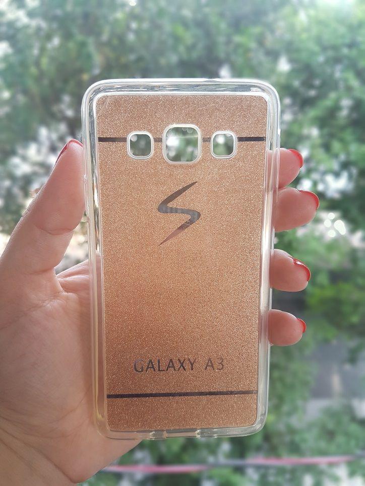 Capa Samsung Galaxy A3 Resina Dourada Soft Gel