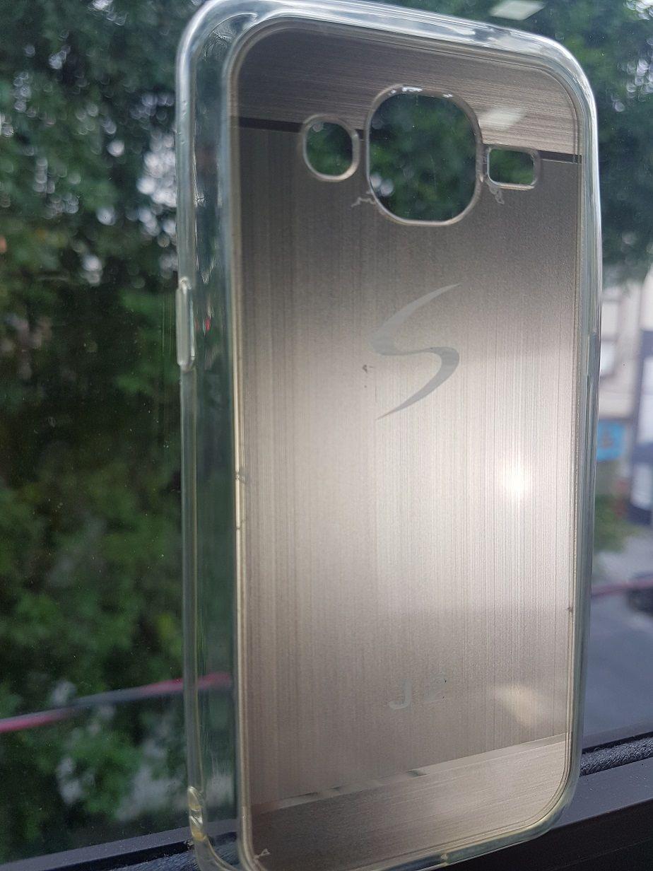 Capa Samsung Galaxy J2 Flexível SM-J200M Prateada Logo Oficial