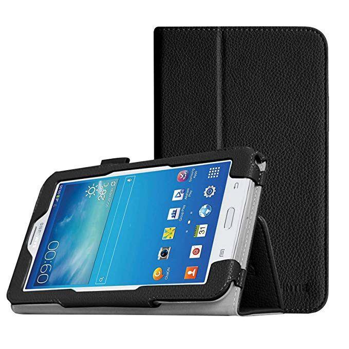 Capa Samsung Galaxy Tab E 7.0 SM-T113 / Tab 3 Lite 7.0 SM-T110 T111 Couro Sintético Slim Preta