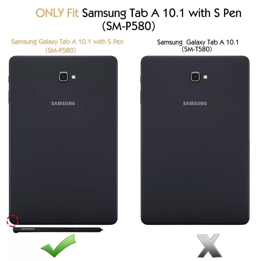 Capa Tablet Samsung Galaxy Tab A 10.1 com S Pen P580 P585 Couro Sintético Magnética
