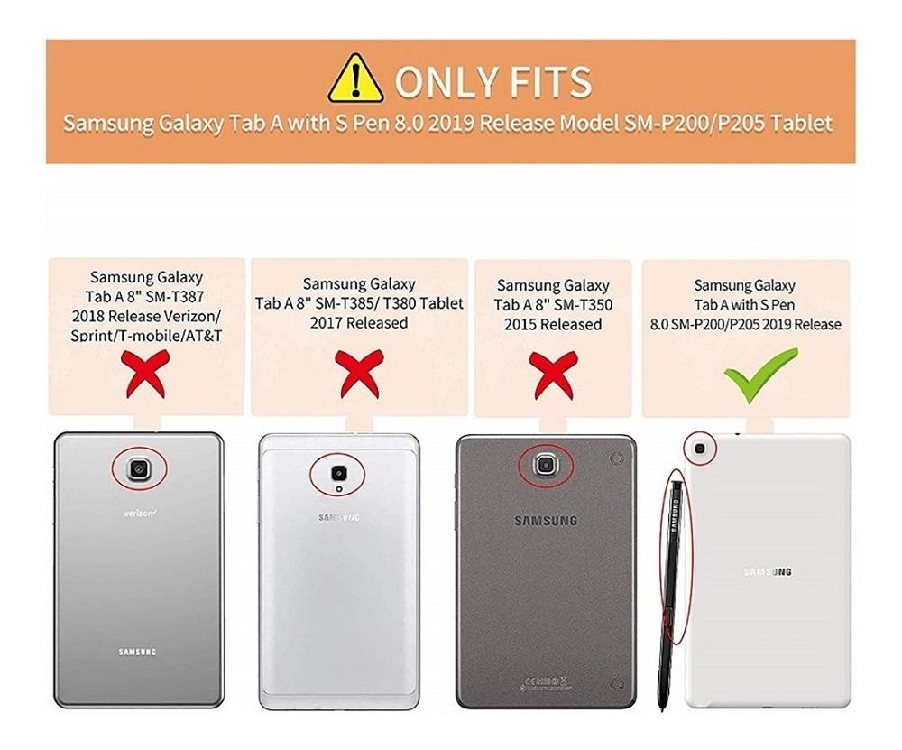 Capa Tablet Samsung Galaxy Tab A 8 S Pen P205 P200 Executiva Giratória