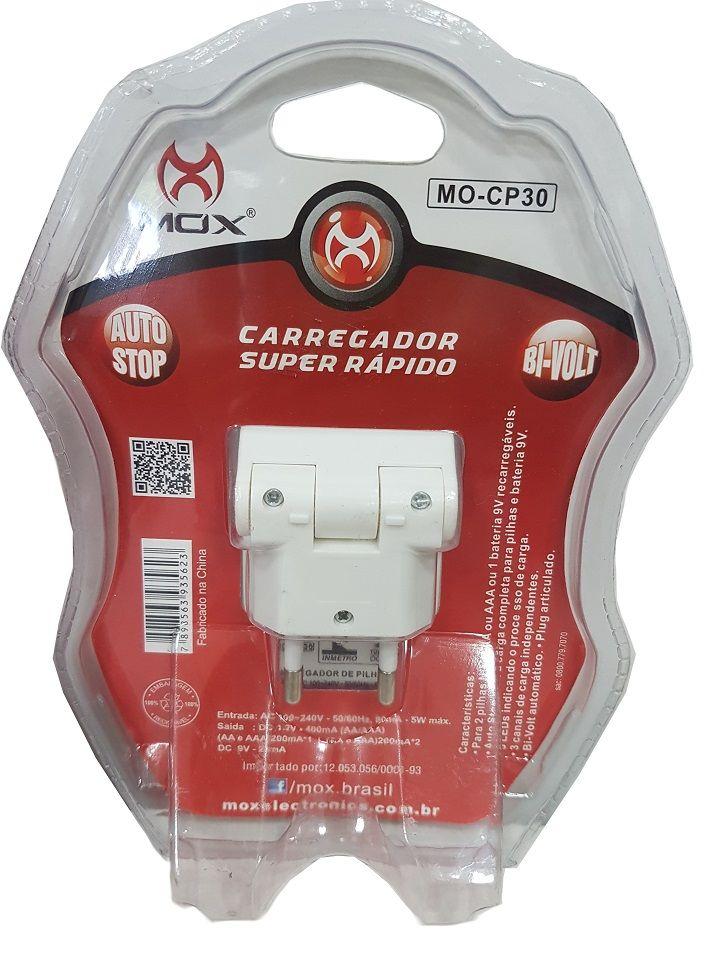 Carregador de Bateria e Pilhas + 2 Baterias 9v Recarregável Mox