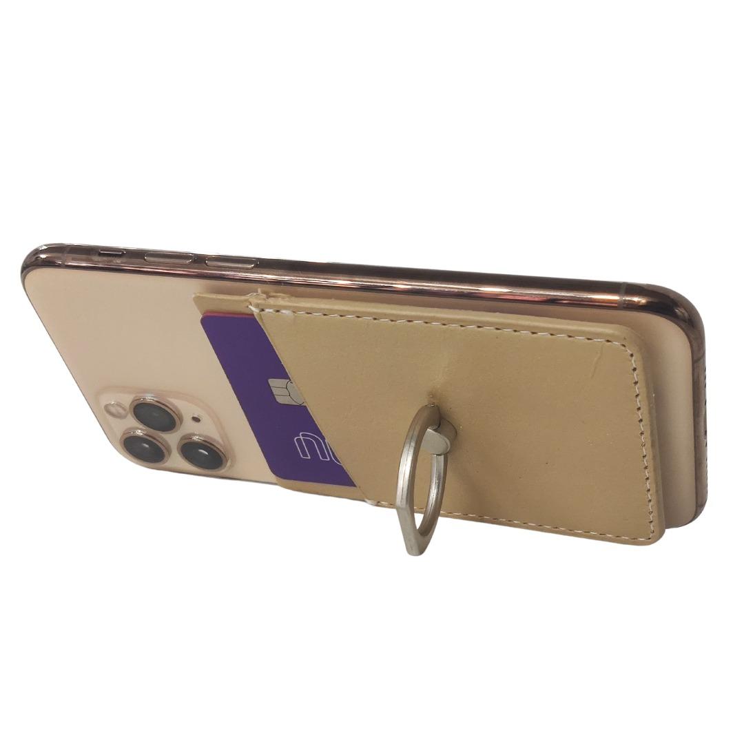 Carteira Autocolante Porta Cartão Para Celular Anel Suporte Dourada