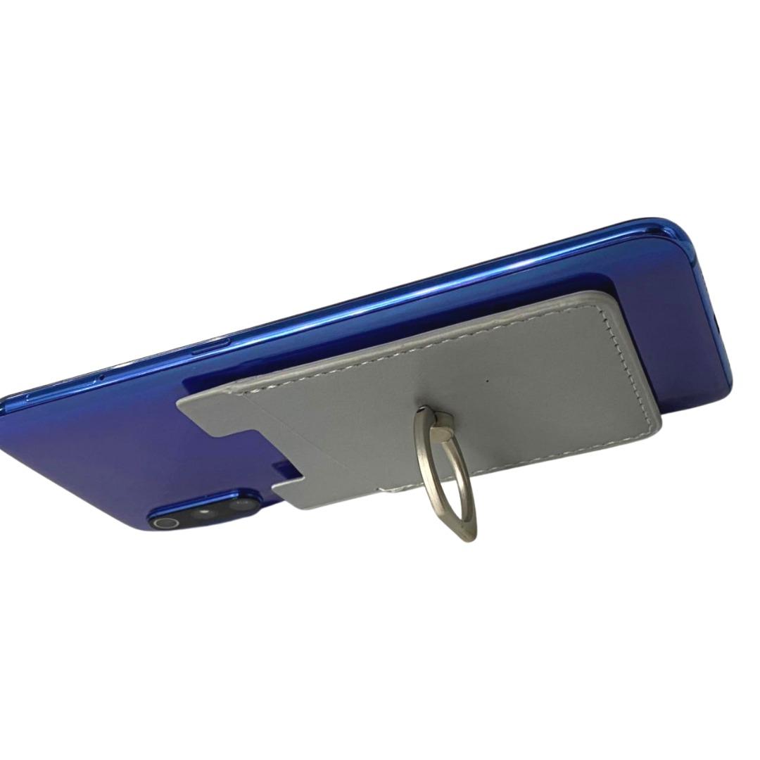 Carteira Autocolante Porta Cartão Para Celular Anel Suporte Prata