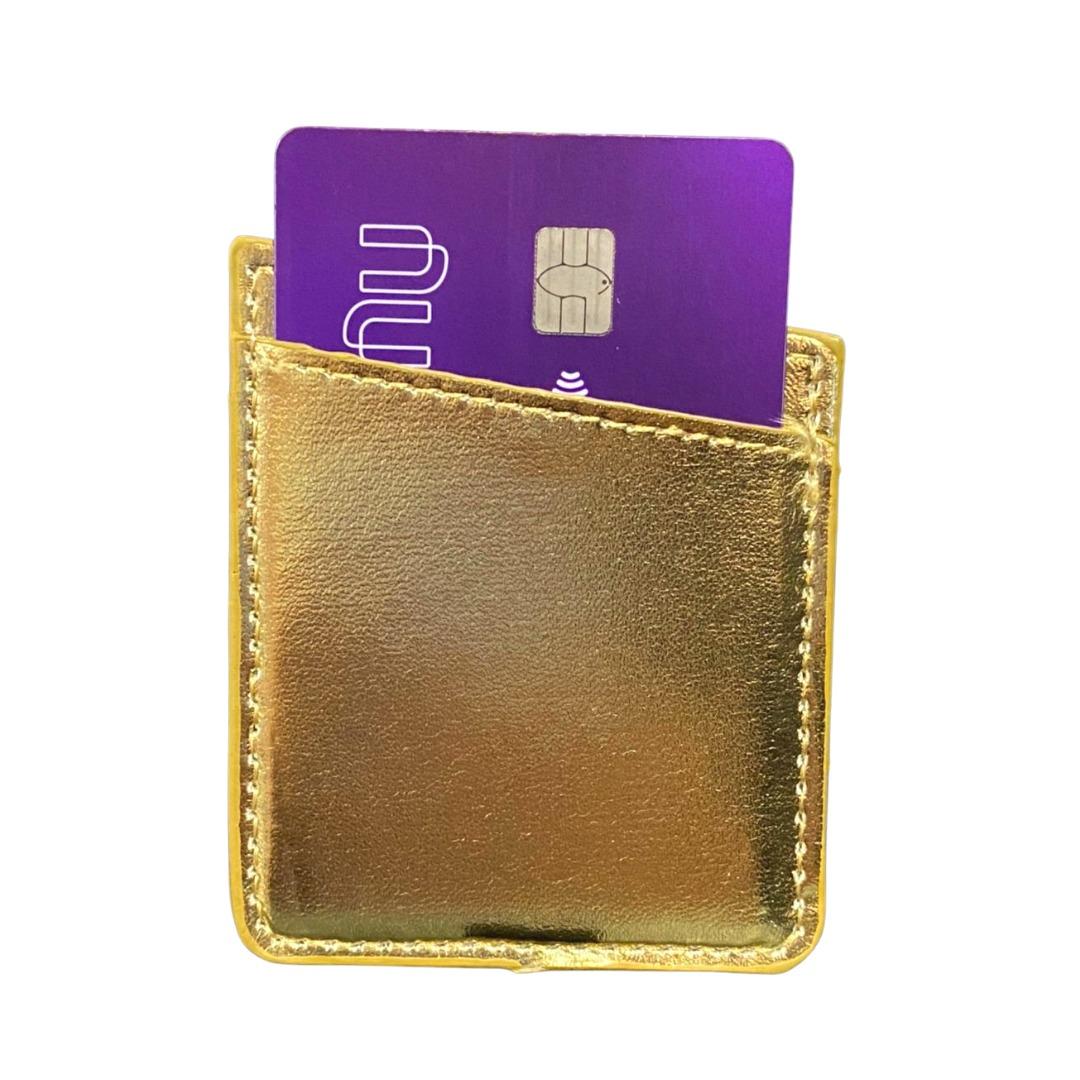 Carteira Autocolante Porta Cartão Para Celular Dourada Gold
