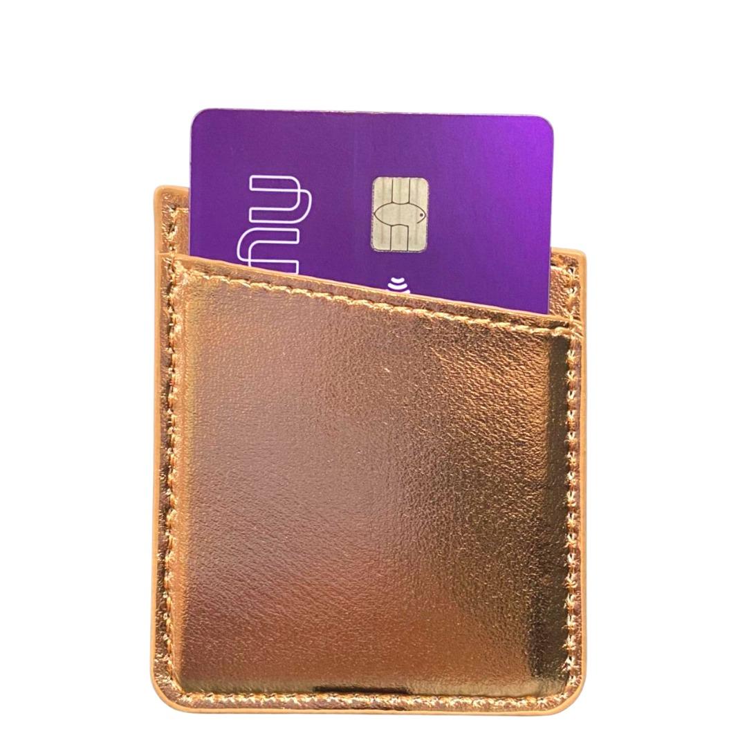 Carteira Autocolante Porta Cartão Para Celular Rose Gold