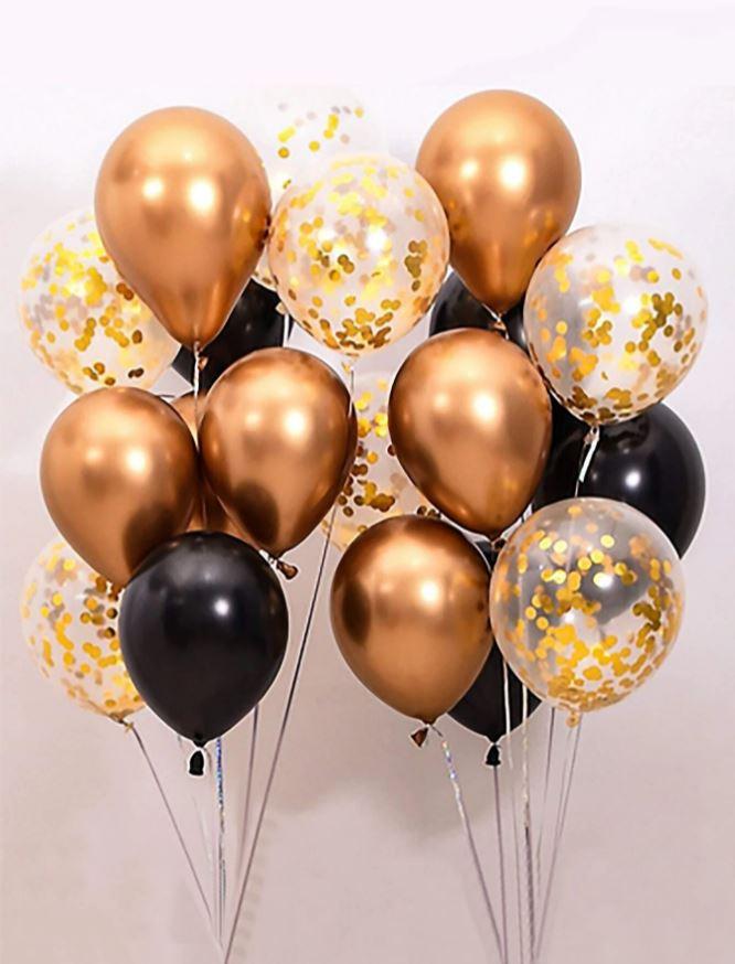 Kit de Balões Temático Dourado/Preto 18 peças Enchimento de Confete