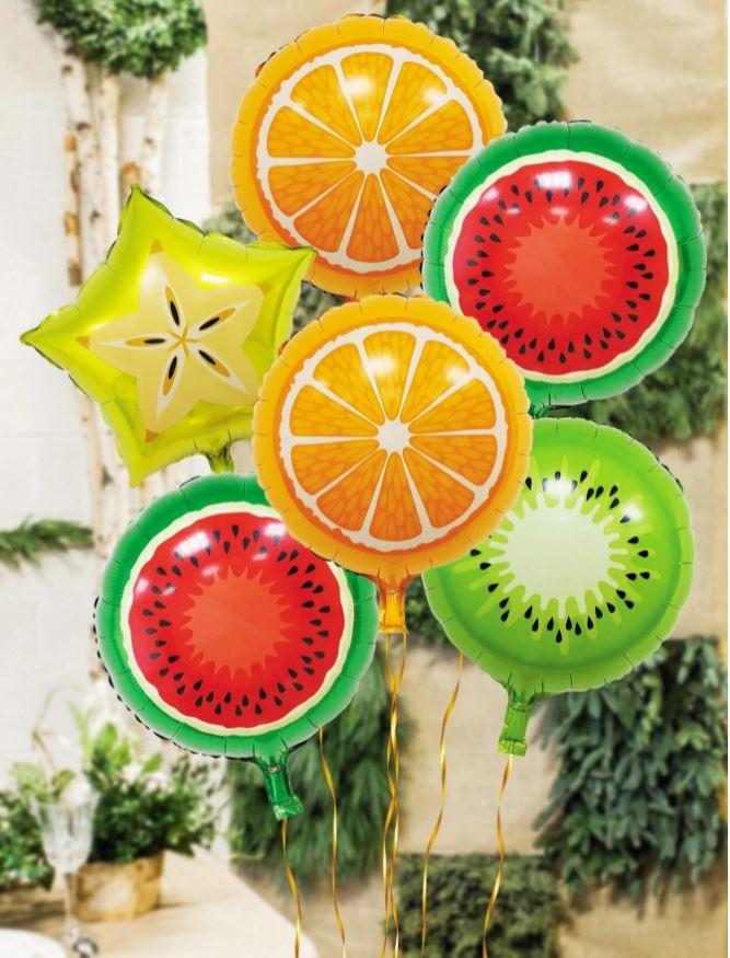 Kit de Balões Temático Frutas 6 Bexigas Decoração Festa